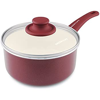 Amazon Com Chef S Healthy Ceramic Saucepan Gray Red 1
