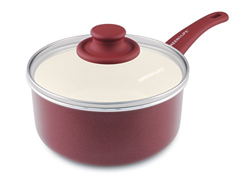 GreenLife Soft Grip Ceramic Non-Stick 3qt Covered Saucepan, Burgundy