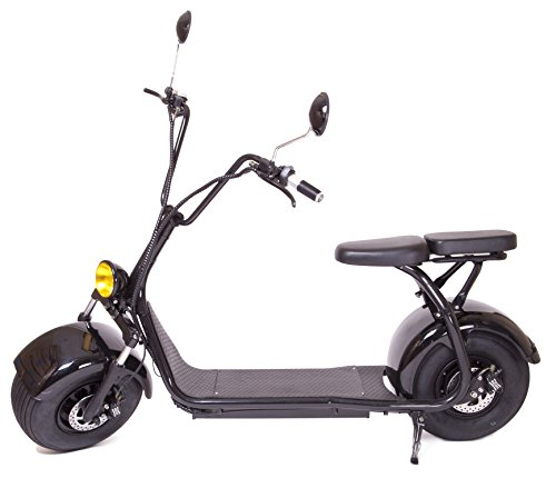 eDrift UH-ES295 Electric Fat Tire Scooter Moped with Shocks 1500w Hub Motor 24MPH Harley E-Bike (Matte Black, 12AH 30 Miles Range)