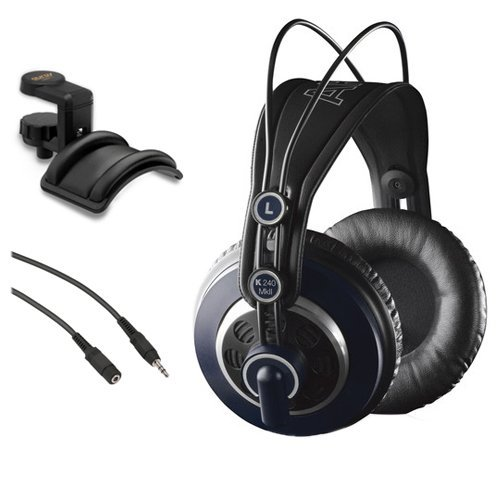 Auriculares AKG K 240 MK II Professional Semi-Open Stereo con Holder & Male to Stereo Female Extension Cable Bundle