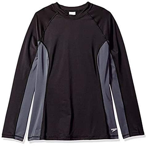 Speedo Women's Long Sleeve Rashguard Swim T Shirt (Plus/Big & Tall), Black, Size 2X