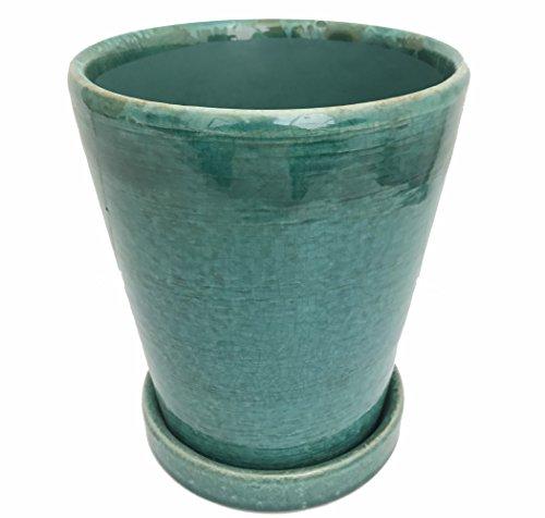 Tall Round Ceramic Planter and Saucer - 6.5