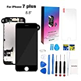 for iPhone 7 Plus Screen Replacement Kit Black 5.5'' LCD Display iPhone 7 Plus Replacement Touch Screen Digitizer Full Assembly with Front Camera+ Earpiece+ Repair Tools Kit+ Screen Protector (Black)