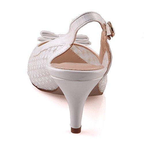 Unze Zapatos de punta Corte Mujeres Bowie ' Blanco