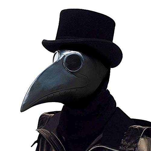 PartyCostume - Black Plague Doctor Mask - Long Nose Bird Beak Steampunk Halloween Costume Props -