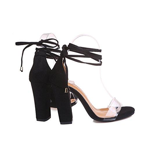 Alto Donna ZKOOO Sandalo a Sandali Trasparente Tacco Blocco Punta a Cinturino Nero Caviglia Aperta Partito Estate Scarpe SRxwpq