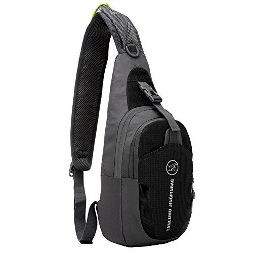 etach Outdoor Sports Schultertasche Casual Fashion Ultraleichte Wasserdicht Brust Tasche schwarz