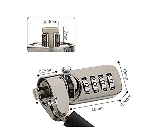 KGear Combination Lock Security Cable- 4-dial password, theft deterrent, for Laptops, Desktops, Type C docking station, Projectors. by KGear (Image #4)