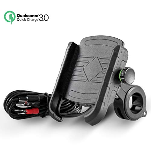 Rydonair Motorcycle Phone Mount with QC 3.0 USB Charger Socket | Motorcycle Handlebar Mount Compatible with Samsung iPhone etc.