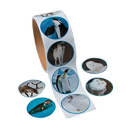 Fun Express Arctic Animal Photo Roll of Stickers (100 Stickers Per Roll)