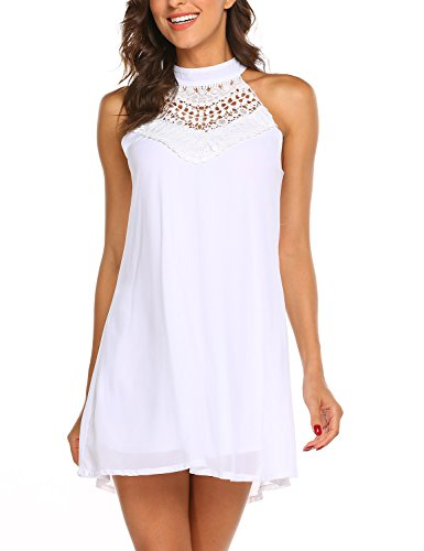 Sweetnight Womens Sleeveless Halter Neck Lace Mini Casual Shift Dress (White, M) ()
