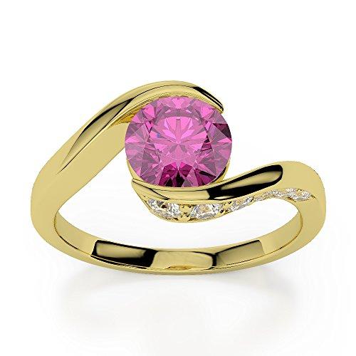 Or jaune 18carats 0,76ct G-H/VS sertie de diamants ronds Cut Saphir rose et bague de fiançailles Agdr-1209