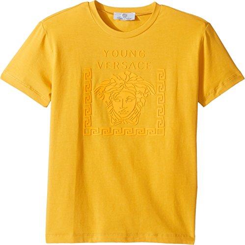 Versace Kids  Boy's Short Sleeve Medusa Logo T-Shirt (Big Kids) Yellow - Kids For Versace