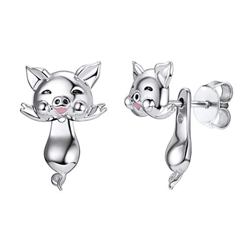 (SILVERCUTE 3D Kiss me Hug Me Pig Stud Earrings 925 Sterling Silver Year of The Pig Amulet Jewelry Animal Design Ear Piercing Jewelry with 3 Wearing Styles)