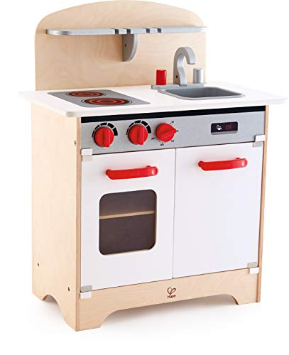 Hape Gourmet Kitchen Toy Fully Equipped Wooden Pretend Play Kitchen Set with Sink, Stove, Baking Oven, Cabinet, Turnable Knobs & Spice Shelf, Red (Kitchen Burners Play Stove)