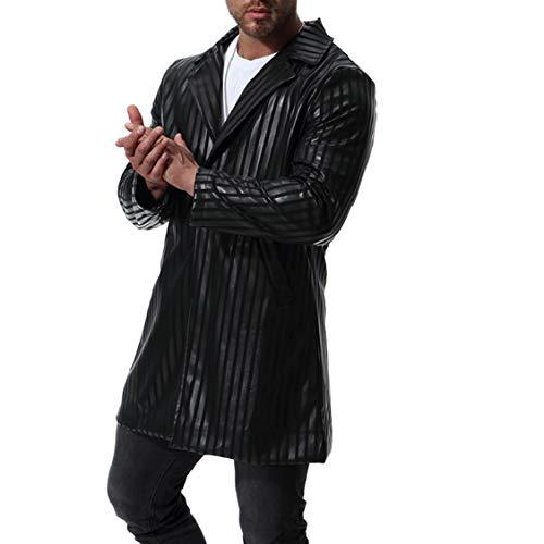 Di Formato Unità Turn Outwear Elaborazione A Righe Nero Fashional lunga Energymen Md Collare down Più aHpvRR
