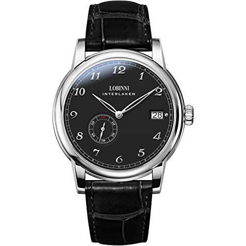LOBINNI Watches for Mens,Luxury Men Automatic Watch Ultrathin Self-Wind Mechanical Wristwatch Sapphire Mirror Leather…