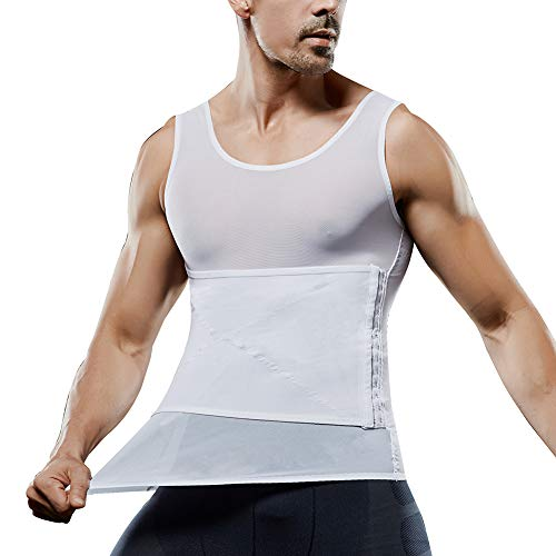 MASS21 Men Body Shaper Powerful Compression Vest Slimming Shirt high Elasticity Shapewear White Size XL
