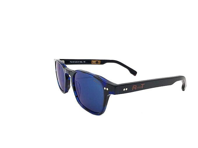 RossoT, Gafas de sol. Lentes de espejo, montura habana azul ...
