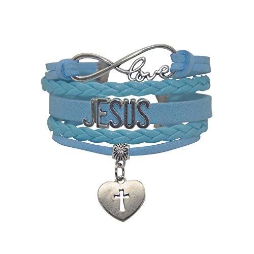 HHHbeauty Jesus Cross Bracelet - Mens Womens Jesus Name Heart Cross Charm Bracelet for Women,Men,Girls,Boys (Blue)