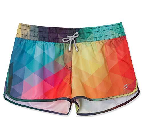 SURF CUZ Women's Prisma Board Short Quick Dry Fabric Women Swim Shorts for Beach Or Swim Multi -
