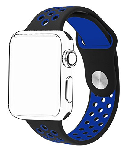 SeKon 42mm Soft Silicone Replacement Band for Apple Watch Series 2, Series 1, Sport, Edition (42mm M/L Black/Blue)