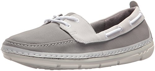 CLARKS Womens Step Maro Sand Boat Shoe, Grey Textile Combi, 6.5 Wide US