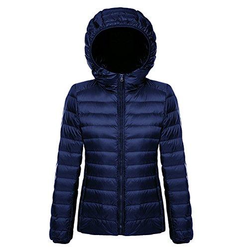 BELLOO Damen Daunenjacke Steppjacke Übergangsjacke zusammenklappbar leicht Winter Warm Jacke mit Kapuze Blau