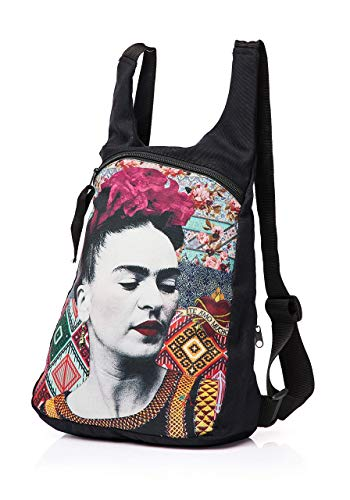 Akitai Frida Kahlo Portrait Black Canvas Print Cute Backpack Purse Womens Fashion Gypsy Bohemian Bag from Akitai