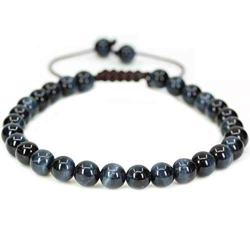 - Natural Blue Tiger Eye Gemstone 6mm Round Beads Adjustable Braided Macrame Tassels Chakra Reiki Bracelets 7-9 inch Unisex