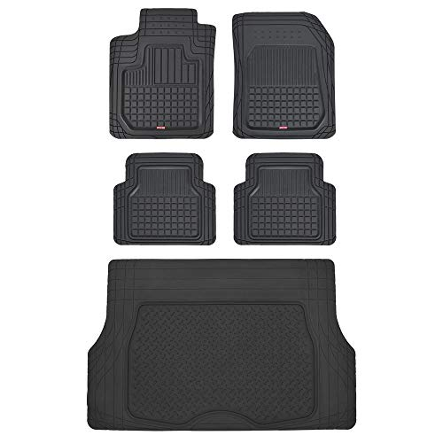 Motor Trend CB210-C2 Rubber Floor Mats for Car SUV Truck - 5 Piece Set w/Cargo Trunk Liner (2006 Toyota Highlander Floor Mats All Weather)