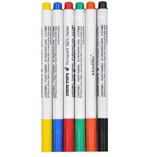 JES&MEDIS DIY Coloring Fabric Markers Pens Permanent Fabric Paint Art Markers Set Child Safe & Non-Toxic Graffiti Bullet Tip(6 Colors)