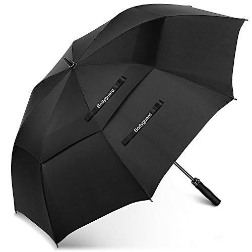 Bodyguard Golf Windproof Umbrella with 68 Inch Large Oversize, Double Teflon Canopy Vented, Automatic Open Stick Umbrellas for Men and Women