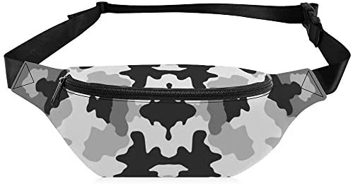 黒と白の迷彩 ウエストバッグ ショルダーバッグチェストバッグ ヒップバッグ 多機能 防水 軽量 スポーツアウトドアクロスボディバッグユニセックスピクニック小旅行