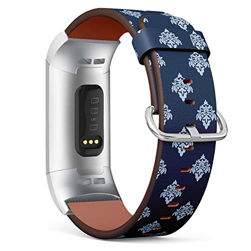 Compatible with Fitbit Charge 3 / Charge 3 SE - Leather Band Bracelet Strap Wristband Replacement with Adapters - Pretty Blue Damask Style Arabesque