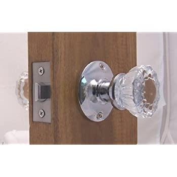 Fluted Crystal Glass & Polished Chrome Passage Door Knob Sets for Modern Doors+includes Our New Secure Set Screw System. Includes hand made wood adapters to fit pre=drilled doors.