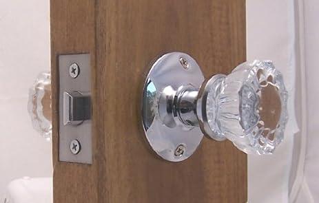 Fluted Crystal Glass & Polished Chrome Passage Door Knob Sets for ...