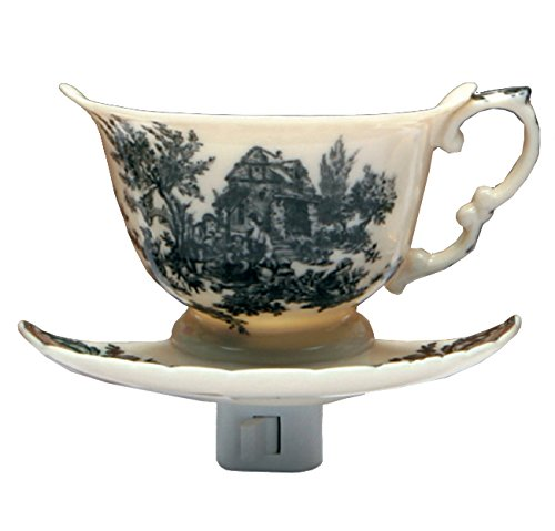 (Green Pastures Wholesale Black Toile Teacup Porcelain Night Light, 6-Inch by 5-Inch by 6-Inch)