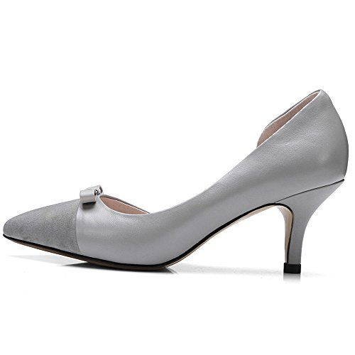 D'Orsay Stiletto Dressy Pumps Shoes Nine Low Style Leather Pointy Women's Cow Seven Handmade Toe Grey wcw0qp8R