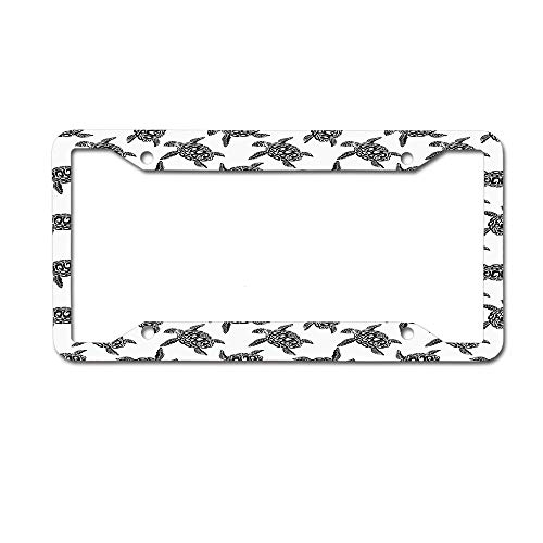 - SDGlicenseplateframeIUY Monochrome Illustration of Swimming Marine Sea Turtles with Tribal Details License Plate Novelty Auto Car Tag Aluminum License Plate Frame .(12x6) 4 Holes