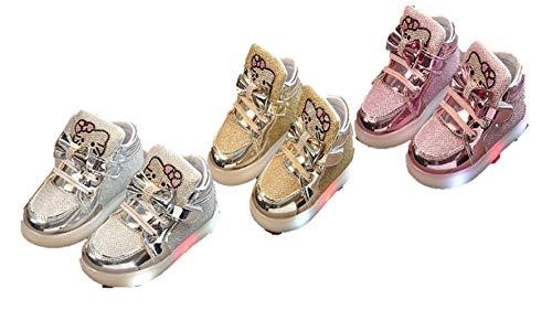 1 2 Buckle My Shoe Girls Hello Kitty Glitter Lighted Sneakers Shoes (10, Pink) (Glitter Hello Shoes Kitty)