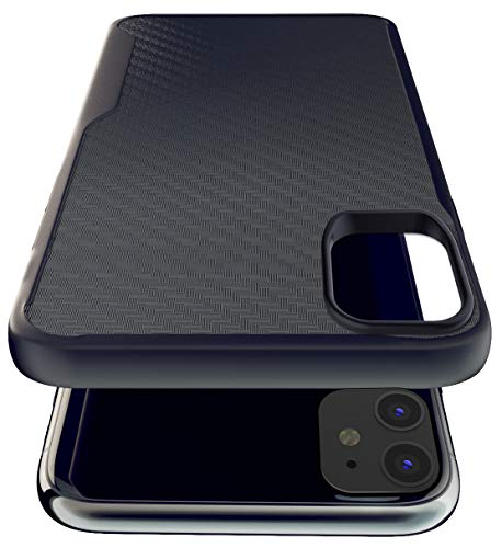 Kitoo Designed for iPhone 11 Case, Carbon Fiber Pattern, 10ft. Drop Tested, Wireless Charging – Black
