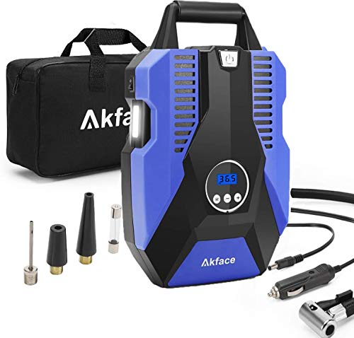 Akface Tire Inflator Portable Air Compressor, DC 12V Digital Air Pump for Car Tires, Bicycles and Other Inflatables…