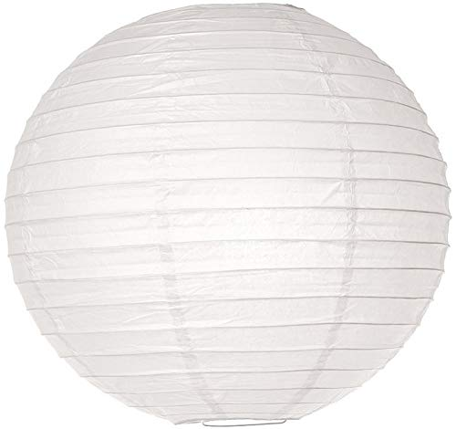 (Luna Bazaar Paper Lantern (12-Inch, Parallel Style Ribbed, White, 10-Pack) - Rice Paper Chinese/Japanese Hanging Decoration - for Home Decor, Parties, and Weddings)