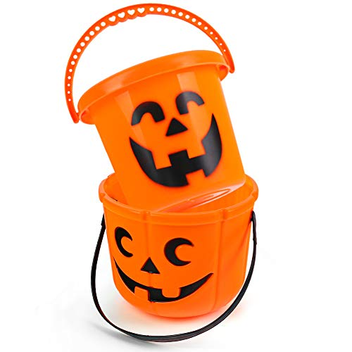 FUTUREPLUSX Halloween Pumpkin Buckets, 2PCS Pumpkin Candy Bucket Trick or Treat Bucket Plastic Jack O Lantern Bucket for Halloween Party Decorations