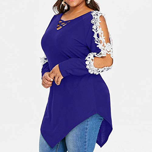 Rambling Criss Cross Sexy Women Off Shoulder Lace Top Long Sleeve Blouse Ladies Casual Tops Shirt Plus Size by Rambling (Image #4)
