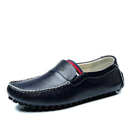 Tba Menns Skinn Slip-on Loafers Blå