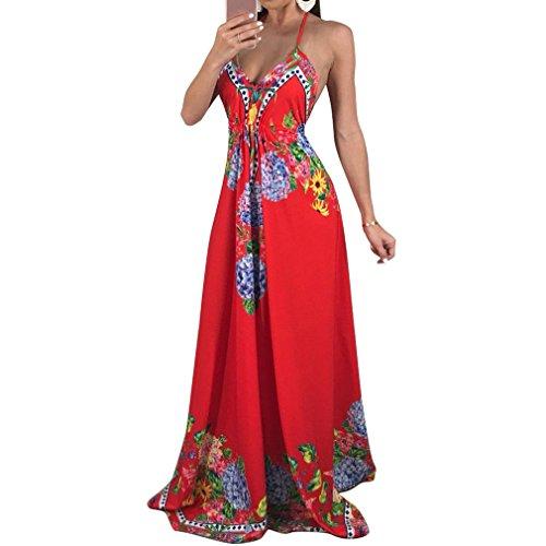 Honghu Women Sleeveless Vneck Floral Printed Floor Length Prom Dress ...