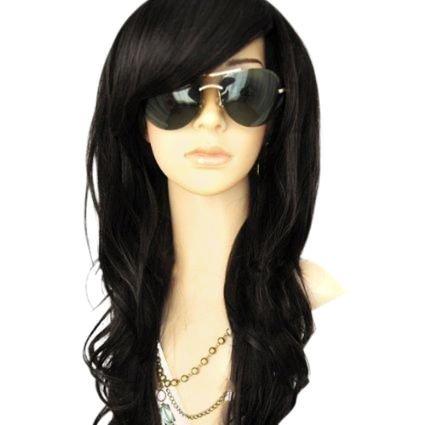 MelodySusie Black Long Curly Wig - Glamorous Women Long