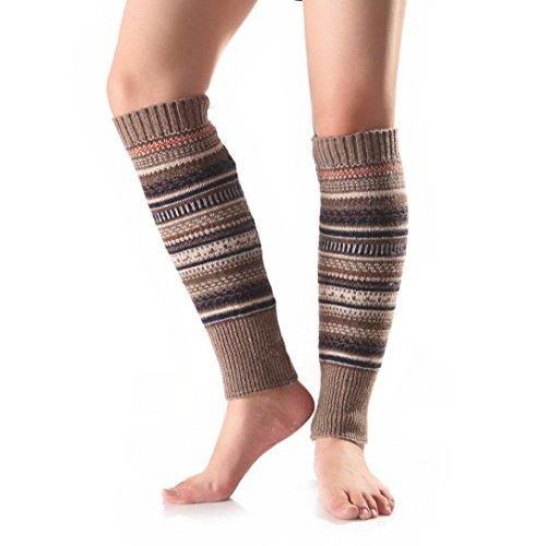 [Oksale Women Winter Stripe Crochet Knitted Wool Boot Socks Cover Leg Warmers (Khaki)] (1980s Costume)